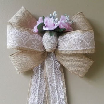 Shabby Burlap Wedding Bow with Pink Lace and Silk Flowers, Wedding Pew Bow,  Bridal Shower Bow, Wreath Stair Door Mailbox  Church Decoration