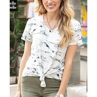 Grace & Lace Perfect V-Neck Tee - Marble