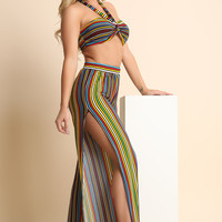 Striped Multi-Tie Bandeau Top with Side Slit Palazzo Pants Set | UrbanOG