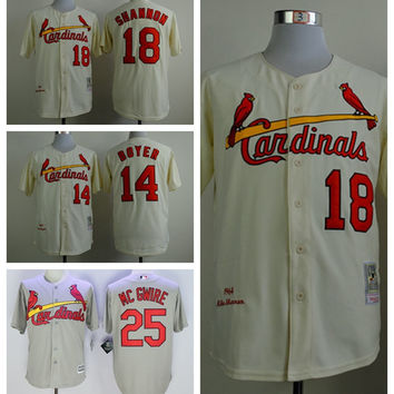 St. Louis Cardinals 18 Mike Shannon Jersey Vintage 14 Ken Boyer 25 Mark McGwire Baseball Jerseys 1964 Cooperstown Throwback Yellow Grey