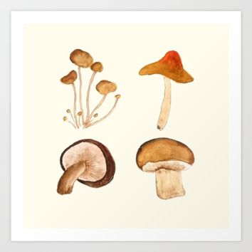 mushroom watercolor painting  Art Print by Color and Color