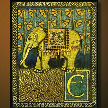 E is for Elephant Medieval Alphabet Letter 8x10 by EmilyBalivet