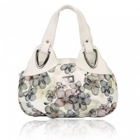 Elegant Women Hobos Peach Pattern PU Leather Handbags Gray