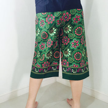 LADY PANT 3/4 Cotton Fisherman Pants 2 Tone Casual 100% Cotton