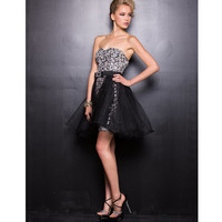 2013 Prom Dresses - Silver & Black Strapless Sequin Dress - Unique Vintage - Prom dresses, retro dresses, retro swimsuits.