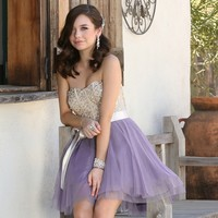 Amanda- Champagne Homecoming Dress