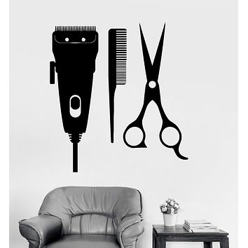 Vinyl Wall Decal Barber Tools Hair Salon Hairdresser Stylist Stickers Unique Gift (ig3571)