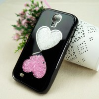 Double Hearts Dancing Diamond Case for Samsung Galaxy S4 i9500/i9505 Black Frame