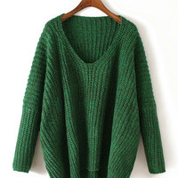 Long Sleeve V-Neck Knitted Sweater