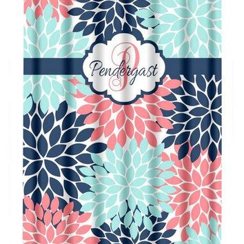 Coral Navy Aqua SHOWER CURTAIN, Flower Bathroom, Custom MONOGRAM Personalized, Floral Bathroom Decor, Bath Towel, Plush Bath Mat