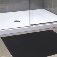 "Royal Bath Collection Luxurious Memory Foam Solid Color Medium (17"" x 24"") Bath Mat with Anti-Slip Latex Backing (Black)"