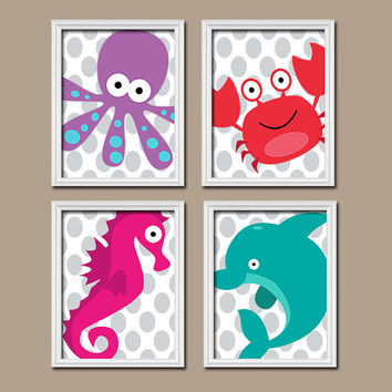 Bathroom Nautical Wall Art Canvas Artwork Girl Boy Ocean Sea Polka Dot Bubbles Dolphin Crab Seahorse Octopus Set of 4 Prints Decor Child