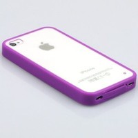 Techview(A60) new hot TPU frame PC clear back cover bumper case for iPhone 4G & 4S AT&T,Verizon,Sprint (Purple)