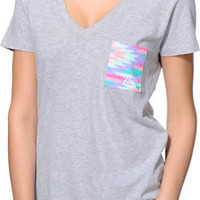 Neff Women's Native Pocket Heather Grey V-Neck Tee Shirt