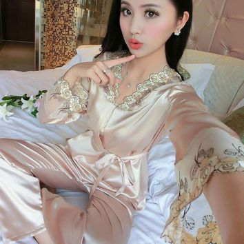 VONG2W 2017 New Satin Silk Pajamas Long Sleeve Female Spring Autumn Cute Embroidery Big Size Sleepwear Ladies Sexy Lingerie Nightwear