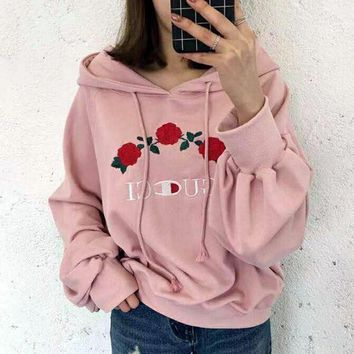 """Gotopfashion GUCCI Hot Sale Embroidery Rose Flower Blouse loose type Hoodie Sweatershirt Pink"""""""