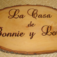 Wood Burned Spanish Home Sign on Basswood Round
