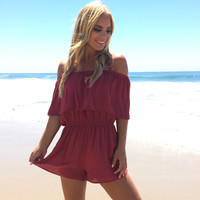On The Fence Off Shoulder Romper In Wine
