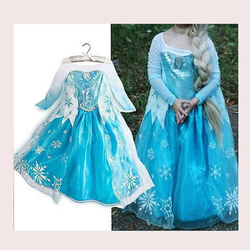 High Quality Elsa Costume Elsa Dress Girls Anna Costume Anna Dress Frozen Costume Girls Frozen Dress Children Princess Dress