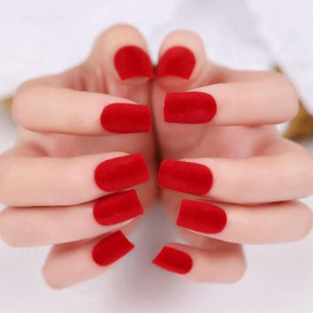 Medium Fake Nail Velvet Flocking Surface Red Pure Color Matte Artificial False Nails For Finger Grace Style Z322