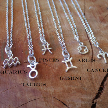 Zodiac, Constellation Necklace, Aquarius, Pisces, Aries, Taurus, Gemini, Cancer, Leo, Virgo, Libra, Scorpio, Sagitarius, Capricorn