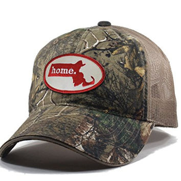 Homeland Tees Men's Massachusetts Home State Realtree Camo Trucker Hat - Red