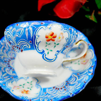 Tea Set Moriage Blue and White Hand Painted Occupied Japan , Vintage Tea Cup and Saucer