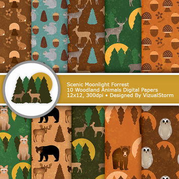 Woodland Animals Digital Paper - Moonlight Forrest, brown, orange and green rustic printable, wild animal craft papers, Buy 2 Get 1 Free