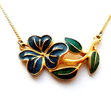Enameled Flower Necklace Vintage Gold Blue Green Dainty Simple Gift Pretty Pansy Violet