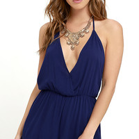 Venezuela Vacation Navy Blue Halter Romper