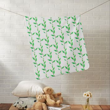 Fresh Green Leaves Branches Baby Stroller Blanket