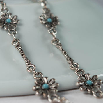 Silver plated Eyeglass Chain -  Eyeglass Holder - Reading Glasses Chain - Eye Glass Chain -Blue stone