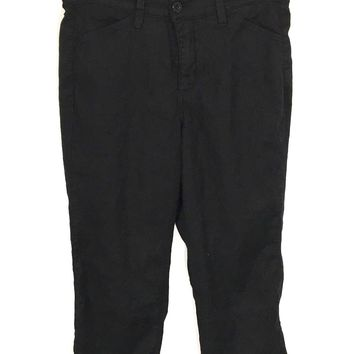 Not Your Daughters Jeans Linen Tencel Black Crop Capris Pants Lift Tuck Womens 6 - Preowned