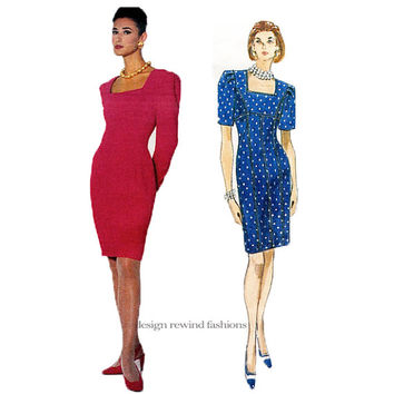 1990s VOGUE DRESS PATTERN Vintage Albert Nipon Square Neck Empire Dress Vogue 2835 American Designer Bust 31.5 32.5 34 UNCuT Sewing Patterns