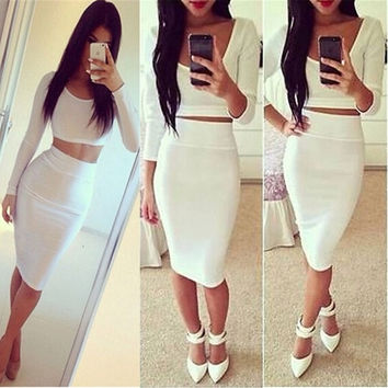 Womens 2PCS High Waisted Outfit Crop top and Pencil Skirt Midi Dress Clubwear S M L_trq = 1916585860