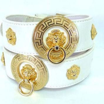CREY1O Versace Gold Lion head studded White Belt