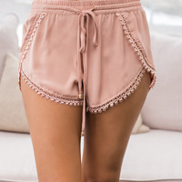 Oceans Away Crochet Tulip Hem Dolphin Short (Rose)