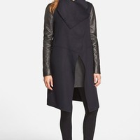 Women's Mackage Wool Blend Coat with Leather Sleeves,