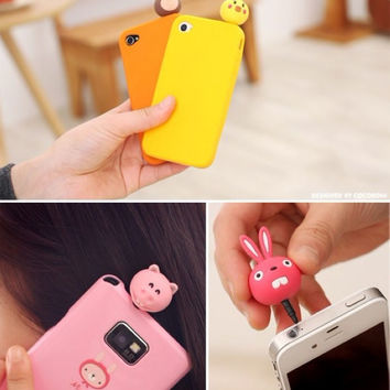 1Pcs Cute Korea cartoon Animal earphone dust plug cap headphones Jack plugs for iphone 5/6/6 plus for samsung galaxy S7/S7 Edge