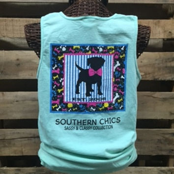 Southern Chics Comfort Colors Preppy Dog Puppy Bowtie Bones Girlie Bright T Shirt Tank Top