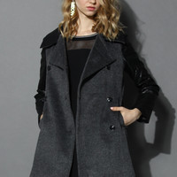 Double-breasted Black Coat with Twill Sleeves Black