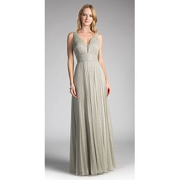 Platinum Ruched V-Neck and Back Pleated Long Formal Dress