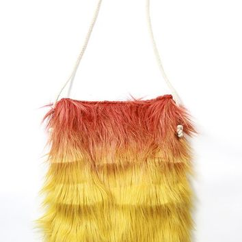Ombré Faux-Fur Bag