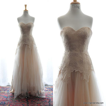 Fall Dara-Romantic Soft tulle and floral lace wedding gown in gorgeous fall color-champagne-Made to order