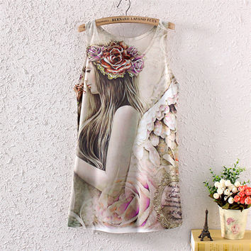 Print Sexy Stylish Sleeveless Round-neck Ladies Dress T-shirts [4919702404]