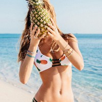 Womens Trendy Pineapple Print Swimsuit Summer Bikini Set