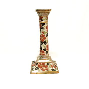 Nippon Hand Painted Candlestick, Gilded Moriage Candle Holder, Candlestick Lamp, Art Nouveau Candlestick, 1891-1911, Antique