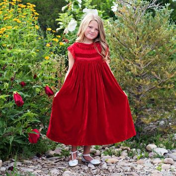 Magnolia Red Velvet Smock Dress - Toddlers & Girls