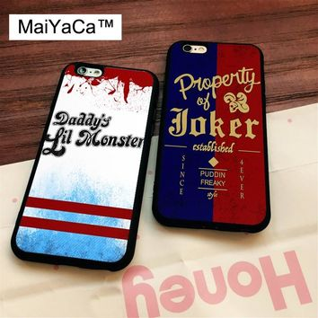 MaiYaCa HARLEY QUINN JOKER SUICIDE SQUAD Printed Soft Rubber Mobile Phone Cases For iPhone 6 6S Plus 7 8 Plus X 5 5S SE Cover