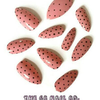 24 Hand painted press on stiletto nails pink with black polka dots